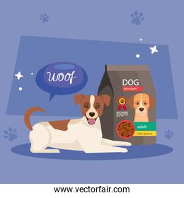 cute dog and bag food in background with pawprints
