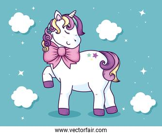 cute unicorn with bow ribbon and clouds decoration