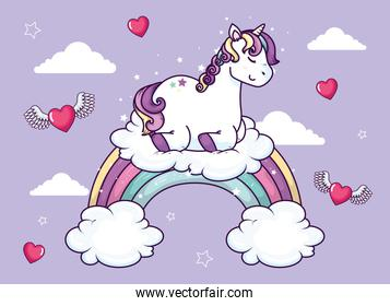 cute unicorn with rainbow and hearts flying