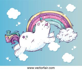 cute cat unicorn with rainbow and clouds
