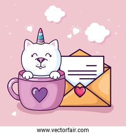 cute cat unicorn fantasy in cup with envelope