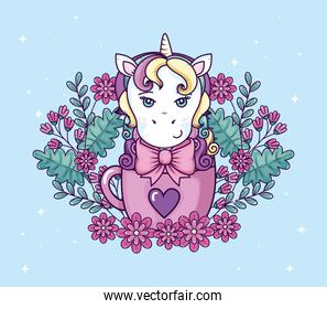 head of cute unicorn fantasy in cup with flowers decoration