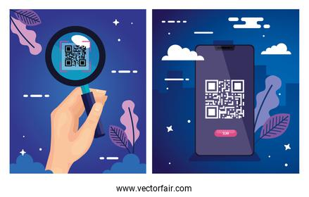 set poster of scan code qr and icons