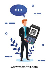 businessman and dataphone with scan code qr