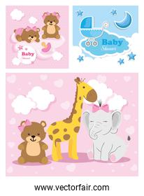 set of baby shower cards with cute decoration