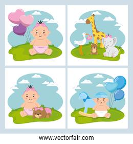 set cute icons of baby shower