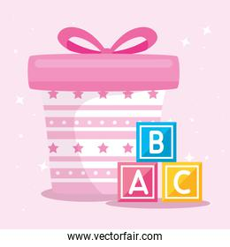 gift box present pink with cubes alphabet  toys