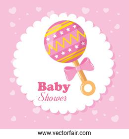 baby shower card with rattle and decoration