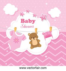 baby shower card with decoration hanging