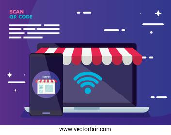laptop smartphone and store vector design