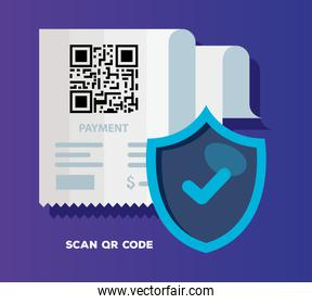 qr code paper and shield vector design