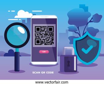 qr code inside smartphone lupe shield and padlock vector design