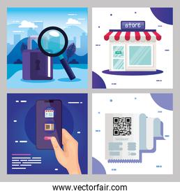 qr code paper store padlock smartphone and lupe vector design