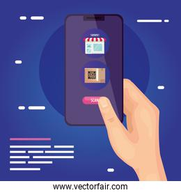 qr code box and store inside smartphone vector design
