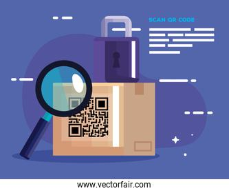 qr code box lupe and padlock vector design