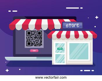 qr code inside laptop and store vector design