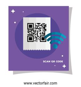 qr code paper and wifi vector design