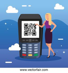 businesswoman and dataphone with scan code qr