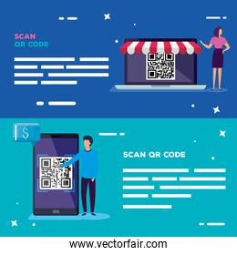 set poster of scan code qr with icons