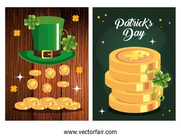 set poster saint patrick day with decoration