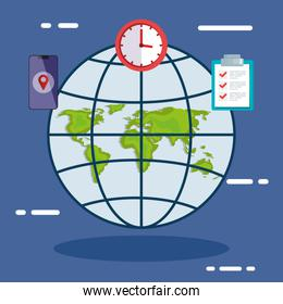 world map sphere and icon set vector design