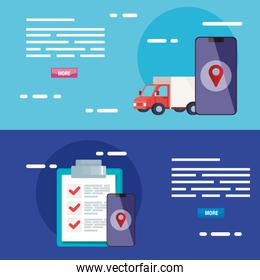 smartphone truck gps mark and list document vector design