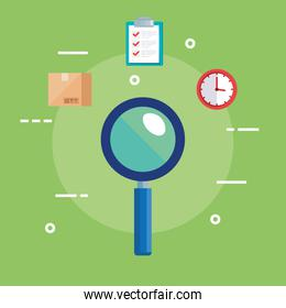 lupe box list document and clock vector design