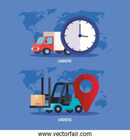 truck forklift clock and gps mark vector design