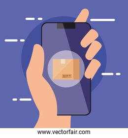 hand holding smartphone with box vector design