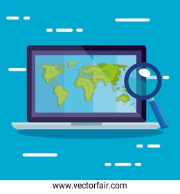 laptop with world map and lupe vector design