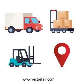 truck forklift boxes over cart and gps mark vector design
