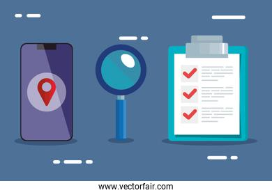 smartphone lupe and list document vector design