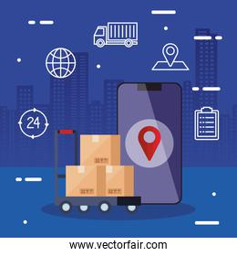 smartphone and boxes over cart vector design