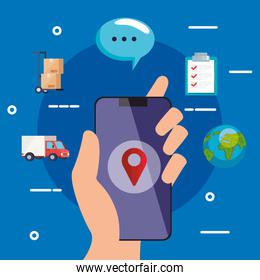 hand holding smarpthone with gps mark vector design