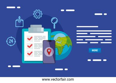 smartphone list document and world vector design