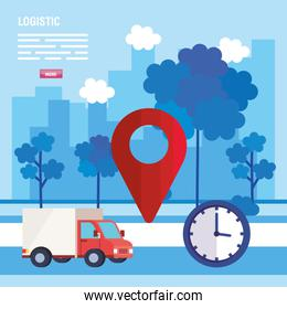 truck gps mark and clock vector design