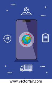 smartphone with world vector design