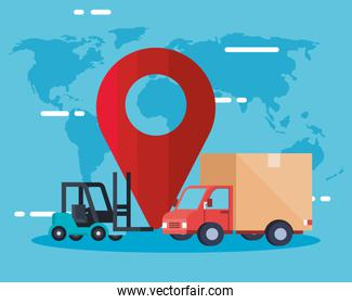 truck forklift and gps mark vector design