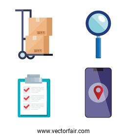 boxes over cart lupe list document and smartphone vector design