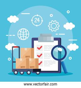 Boxes over cart list document and lupe vector design