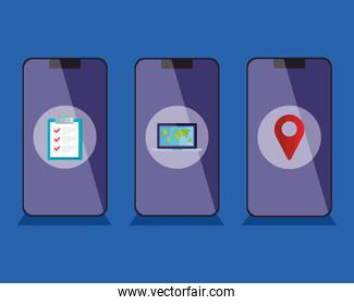 smartphones with delivery icons vector design