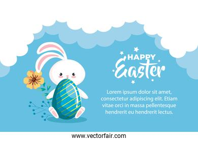 happy easter card with egg and bunny