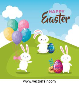 happy easter card with eggs and rabbits