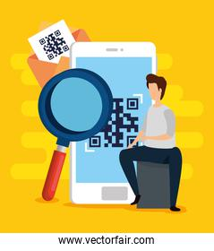 scan code qr in smartphone with man and icons
