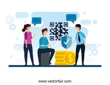 people with code qr and icons