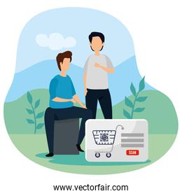 men with code qr in cart shopping