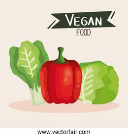 vegan food cartel with pepper and vegetables