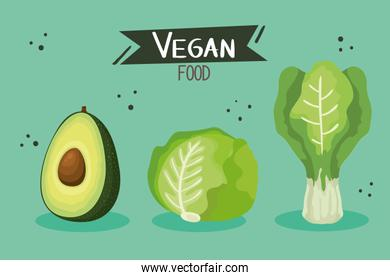 poster with avocado and vegetables