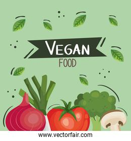 vegan food poster with tomato and vegetables