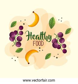 healthy food poster with grapes and bananas